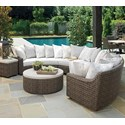 Tommy Bahama Outdoor Living Cypress Point Ocean Terrace 6 Seat Curved Sect Sofa w/ Scatterback   - Item Number: 3900-82L+CS82LS+82A+CS82AS+82R+CS82