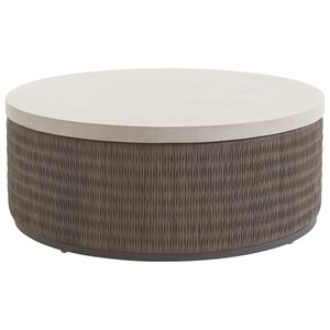 Tommy Bahama Outdoor Living Cypress Point Ocean Terrace Round Cocktail Table w/ Weatherstone Top