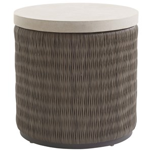 Tommy Bahama Outdoor Living Cypress Point Ocean Terrace Round End Table with Weatherstone Top