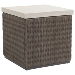 Tommy Bahama Outdoor Living Cypress Point Ocean Terrace Outdoor Sq End Table with Weatherstone Top