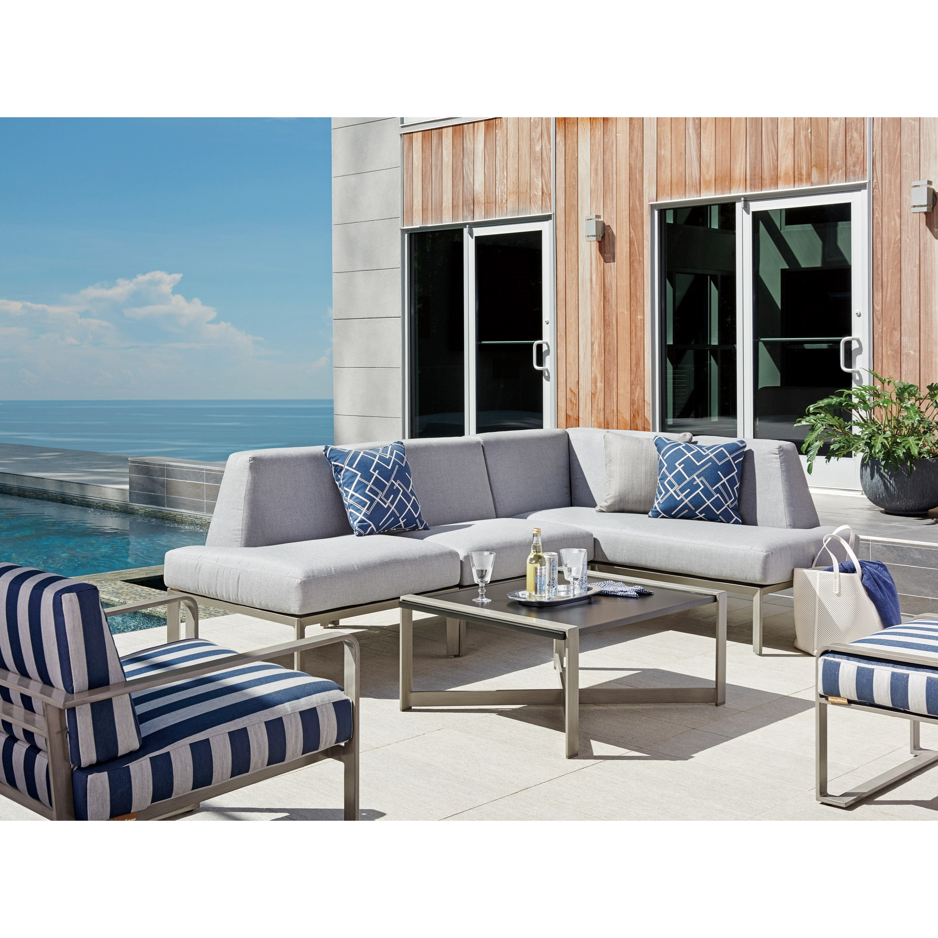 Tommy Bahama Outdoor Living Del Mar Three Piece Outdoor L Shape Sectional Baer 39 S Furniture