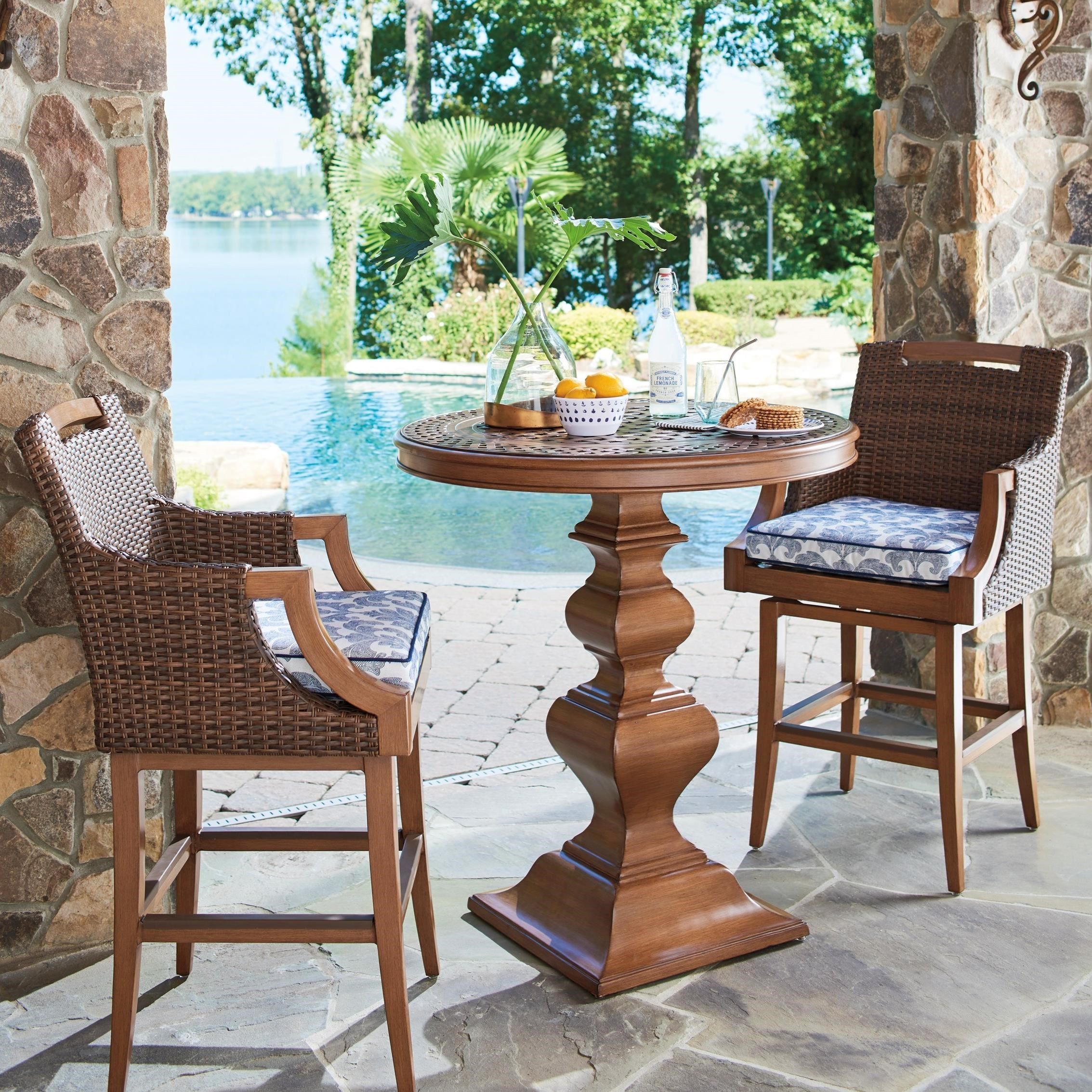 Harbor Isle 3-Piece Outdoor Bistro Set w/ Bar Stools by Tommy Bahama Outdoor Living at Baer's Furniture