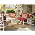 Tommy Bahama Outdoor Living Island Estate Hamptons Outdoor Side Table with Octagonal Top - Shown with Scatterback Sofa, Cocktail Table, and Lounge Chair