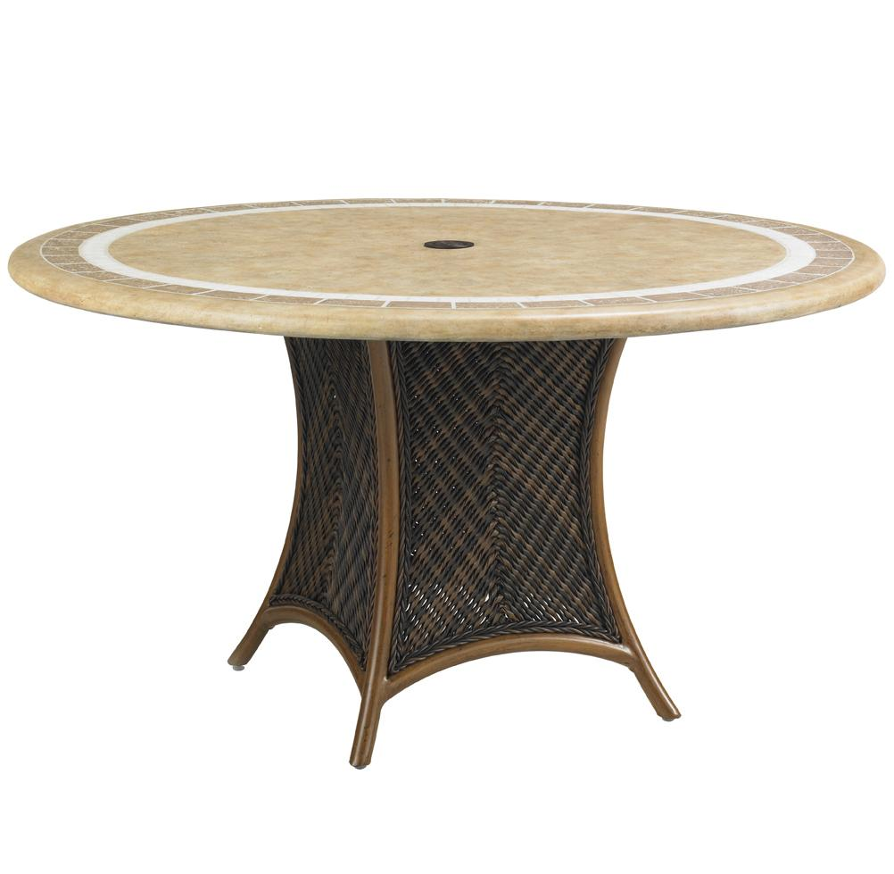Tommy Bahama Outdoor Living Island Estate Lanai Outdoor 54 Inch Round Weatherstone Table - Item Number: 3160-870WT+3170-870TB