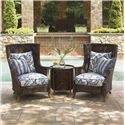 Tommy Bahama Outdoor Living Island Estate Lanai Outdoor Woven Wicker Wing Chair - Shown with Tray End Table
