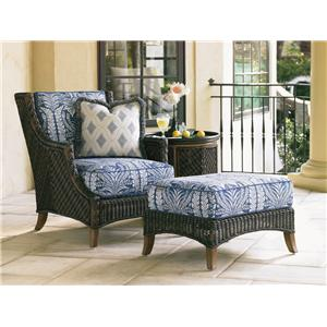 Tommy Bahama Outdoor Living Island Estate Lanai Lounge Chair and Ottoman Set with Table