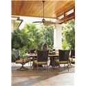 Tommy Bahama Outdoor Living Island Estate Lanai Outdoor Woven Wicker Swivel Rocker Dining Chair - Shown with Rectangular Dining Table and Dining Arm Chair
