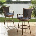 Tommy Bahama Outdoor Living Island Estate Lanai Outdoor Woven Wicker Swivel Bar Stool with Cushion Seat