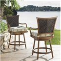 Tommy Bahama Outdoor Living Island Estate Lanai Outdoor Woven Wicker Swivel Counter Stool with Cushion Seat
