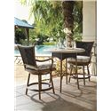 Tommy Bahama Outdoor Living Island Estate Lanai Outdoor Woven Wicker Swivel Counter Stool with Cushion Seat  - Shown with Bistro Table