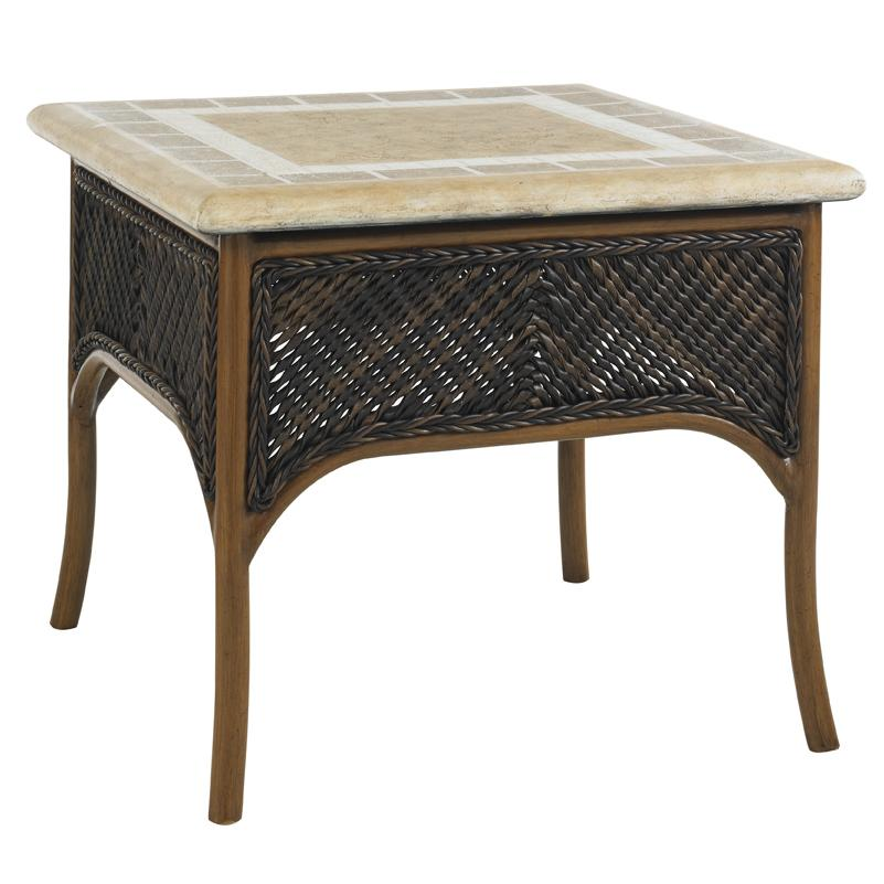 Tommy Bahama Outdoor Living Island Estate Lanai Accent Table With Weatherstone Top Howell Furniture End Tables