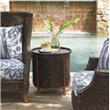 Tommy Bahama Outdoor Living Island Estate Lanai Outdoor Round Tray End Table with Storage Room - Shown with Wing Back Chairs