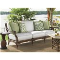 Tommy Bahama Outdoor Living Island Estate Veranda Outdoor Boxed Edge Sofa with Leather Wrapped Bamboo Lattice Back - Shown with Pineapple Table
