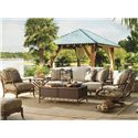 Tommy Bahama Outdoor Living Island Estate Veranda Outdoor Boxed Edge Sofa with Leather Wrapped Bamboo Lattice Back - Shown with Square End Table, Trunk Cocktail Table, Swivel Lounge Chair,and Ottoman