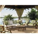 Tommy Bahama Outdoor Living Island Estate Veranda Outdoor Boxed Edge Sofa with Leather Wrapped Bamboo Lattice Back - Shown with Lounge Chair, End Table, Cocktail Table, and Alfresco Living Pineapple Table,