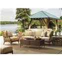 Tommy Bahama Outdoor Living Island Estate Veranda Outdoor Boxed Edge Sofa with Leather Wrapped Bamboo Lattice Back - Shown with Square End Tables, Trunk Cocktail Table,Lounge Chair and Ottoman