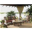 Tommy Bahama Outdoor Living Island Estate Veranda Outdoor Scatterback Sofa with Leather Wrapped Bamboo Lattice Back - Shown with Lounge Chairs, Ottoman, Cocktail Table, End Table, and Alfresco Living Pineapple Table