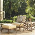 Tommy Bahama Outdoor Living Island Estate Veranda Outdoor Ottoman with Leather Wrapped Bamboo Splayed Legs - Shown with Lounge Chair and Square End Table