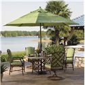 Tommy Bahama Outdoor Living Island Estate Veranda 6 Piece Dining Table, Chair and Umbrella Set - Item Number: 3160-870WT+TB+2x13+2x13SR+765+35CUB