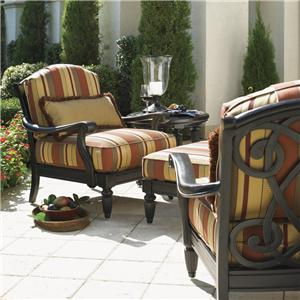 Tommy Bahama Outdoor Living Kingstown Sedona 2 Lounge Chairs with Ottoman & Table Set