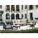 Tommy Bahama Outdoor Living Kingstown Sedona Swivel Lounge Chair with Scroll Arms - Shown with Scatterback Sofa, Round End Table, Lounge Chair, and Ottoman