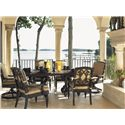 Tommy Bahama Outdoor Living Kingstown Sedona Dining Arm Chair with Scroll Arms - Shown with Cast Metal Rectangular Dining Table and Swivel Rocker Dining Chair