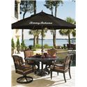 Tommy Bahama Outdoor Living Kingstown Sedona Swivel Rocker Dining Chair with Scroll Arms - Shown with Cast Metal Round Dining Table and Dining Arm Chair