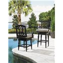 Tommy Bahama Outdoor Living Kingstown Sedona Swivel Counter Stool with Turned Legs - Shown with Swivel Bar Stool