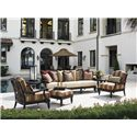 Tommy Bahama Outdoor Living Kingstown Sedona Scatterback Sofa with Scroll Arms - Shown with Round End Table, Lounge Chairs, and Ottoman
