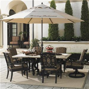 Tommy Bahama Outdoor Living Kingstown Sedona 8 Piece Dining Set with Umbrella