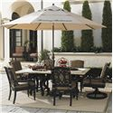 Tommy Bahama Outdoor Living Kingstown Sedona 8 Piece Dining Set with Umbrella - Item Number: 3190-876+2x13SR+4x13+3100-645