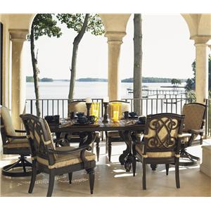 Tommy Bahama Outdoor Living Kingstown Sedona 7 Piece Dining Set With Cast Rect Table