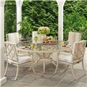 Tommy Bahama Outdoor Living Misty Garden 6 Pc Dining Set with Round Table - Item Number: 3239-870FT+870TB+5X13+CS13