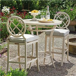 Tommy Bahama Outdoor Living Misty Garden 3 Pc High/Low Bistro Table w/ Bar Stools