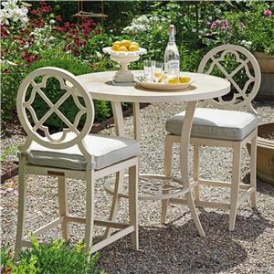Tommy Bahama Outdoor Living Misty Garden 3 Pc High/Low Bistro Table w/ Counter Stools