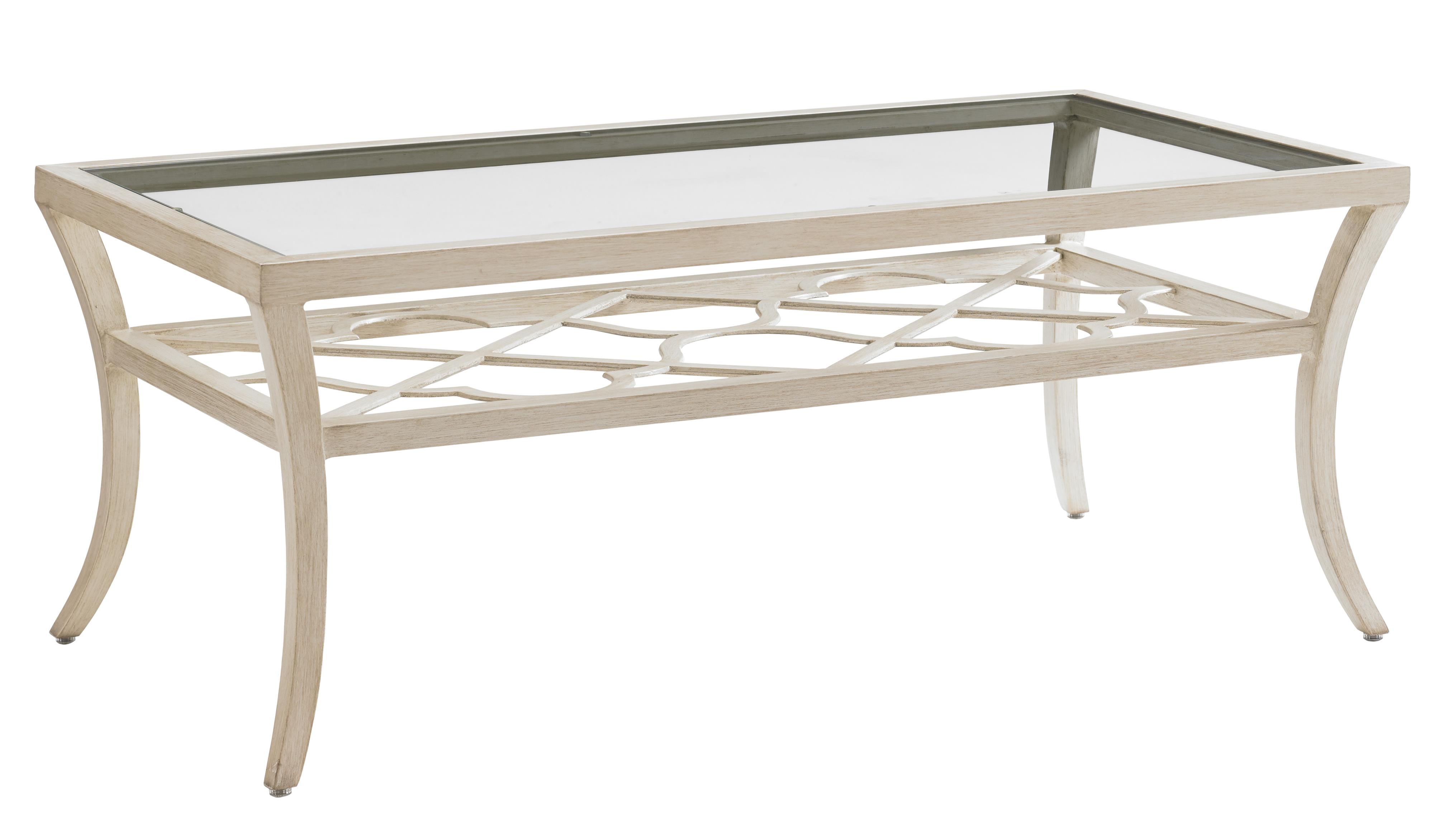 Misty Garden Rectangular Cocktail Table with Inset Glass by Tommy Bahama Outdoor Living at Baer's Furniture