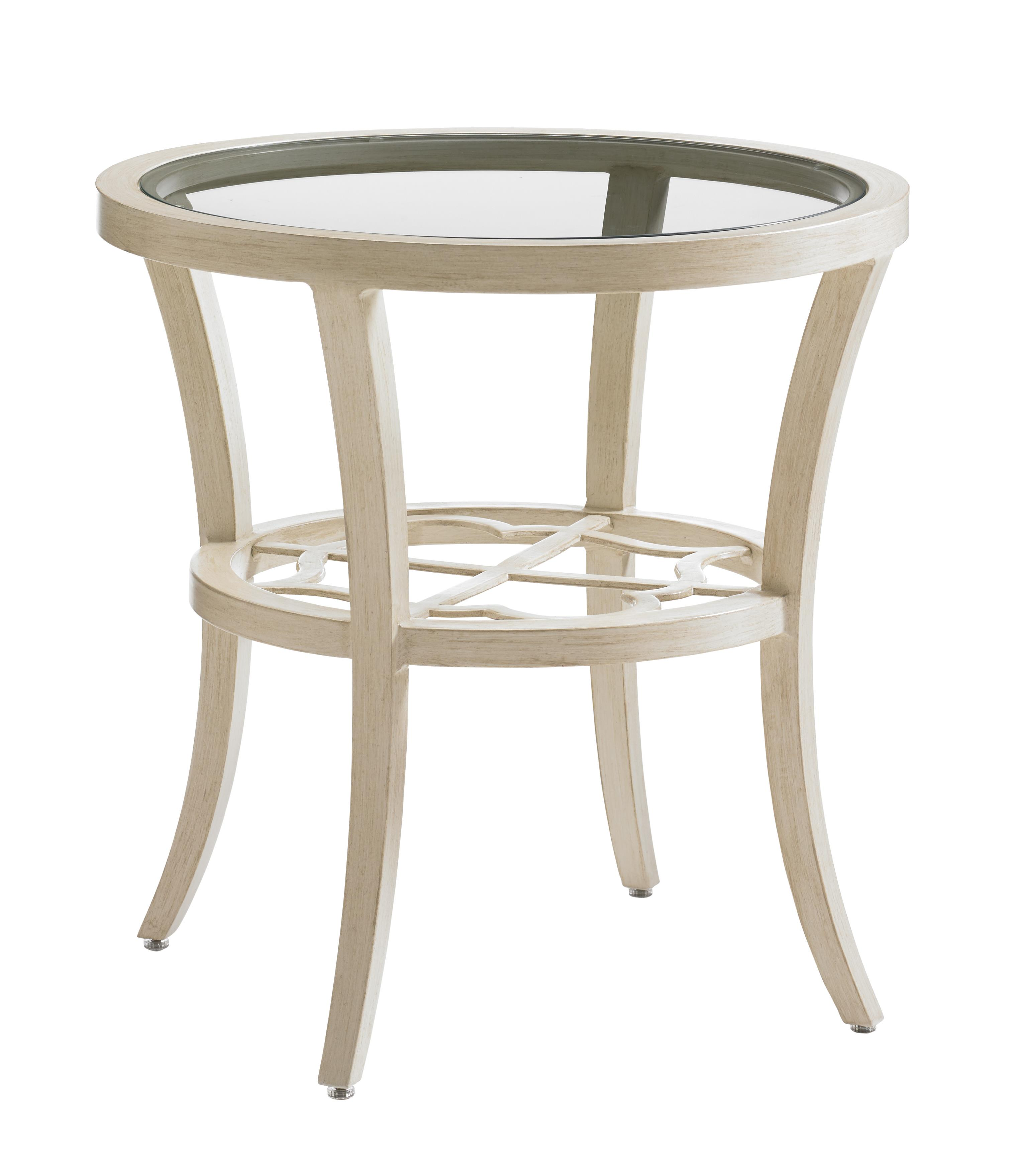Misty Garden Round End Table with Inset Glass Top by Tommy Bahama Outdoor Living at Baer's Furniture