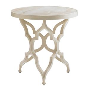 Tommy Bahama Outdoor Living Misty Garden Round Accent Table w/ Porcelain Top