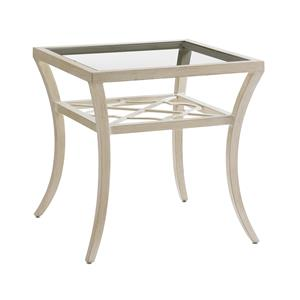 Tommy Bahama Outdoor Living Misty Garden Square End Table with Inset Glass Top