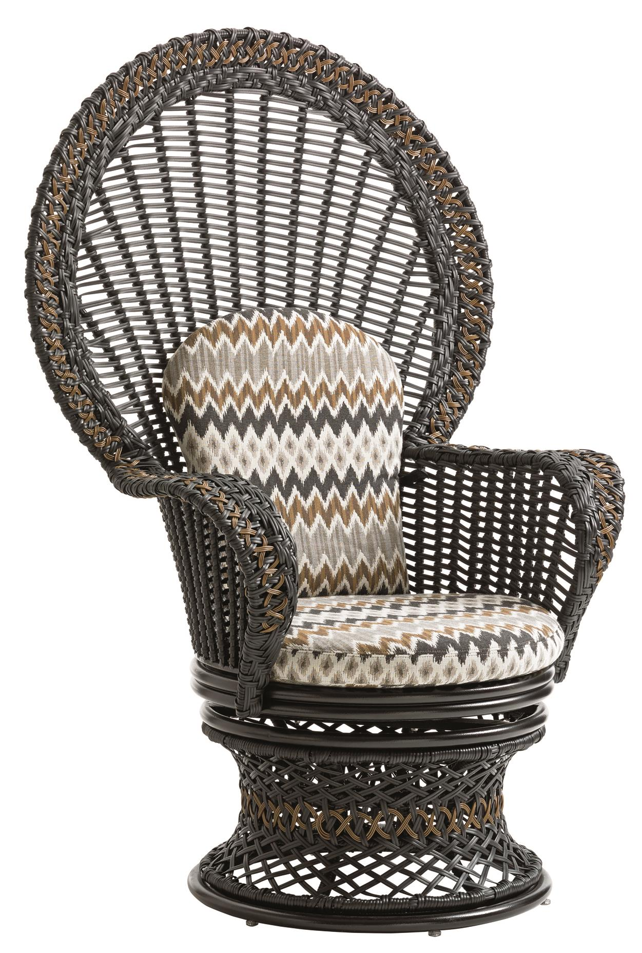 Tommy Bahama Outdoor Living Marimba Swivel Fan Chair - Item Number: 3237-10+CS3237-10-7685-71