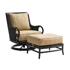 Tommy Bahama Outdoor Living Marimba Swivel Rocker Lounge Chair and Ottoman