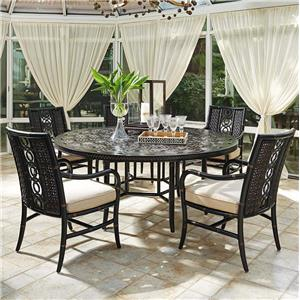 Tommy Bahama Outdoor Living Marimba 6 Pc Round Dining Table and Chair Set
