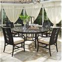 Tommy Bahama Outdoor Living Marimba 6 Pc Round Dining Table and Chair Set - Item Number: 3237-875+5X3237-13+CS3237-13