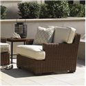Tommy Bahama Outdoor Living Ocean Club Pacifica Outdoor Woven Rattan Lounge Chair with Block Feet - Shown with Side Table