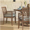 Tommy Bahama Outdoor Living Ocean Club Pacifica Outdoor Dining Arm Chair with Horizontal Line Motif & Seat Cushion  - Shown with Round Dining Table