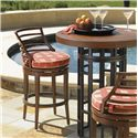 Tommy Bahama Outdoor Living Ocean Club Pacifica Outdoor Swivel Counter Stool with Horizontal Slat Back  - Shown with Ocean Club Resort Bistro Table