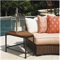 Tommy Bahama Outdoor Living Ocean Club Pacifica Wedge Shaped Weatherstone Accent Table - Shown with Curved Armless Sofa