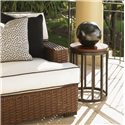 Tommy Bahama Outdoor Living Ocean Club Pacifica Weatherstone Round Accent Table with Weatherstone Top - Shown with Outdoor Sofa