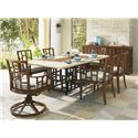 Tommy Bahama Outdoor Living Ocean Club Resort Grid Back Stationary Dining Arm Chair - Shown with Swivel Rocker Dining Chair, Rectangular Dining Table and Buffet