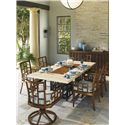 Tommy Bahama Outdoor Living Ocean Club Resort Grid Back Swivel Rocker Dining Chair - Shown with Rectangular Dining Table, Buffet and Dining Chair